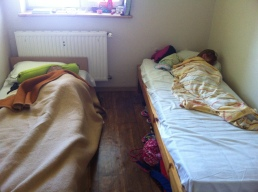 The kids sleeping in their room for the next month at Ostroda Camp.