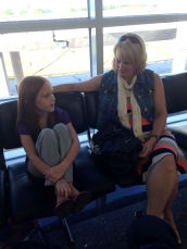 Anna and Cindy chatting as we wait at the airport