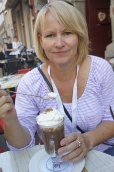 "Cindy enjoying ""liquid chocolate"" in Gdansk."