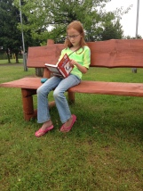 "Anna reading her book during our ""free day"""